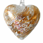 Hanging Mouth Blown Glass Heart Gold with Iridescent Finish