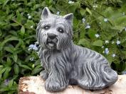 Garden ornament Dog sitting, Cast stone, Slate grey