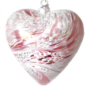 Hanging Mouth Blown Glass Heart Pink with Iridescent Finish