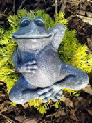 Garden ornamental Figure - Frog lying down, Cast stone, Slate grey