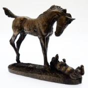 David Geenty Bronze Sculpture - Foal & Dog First Encounters