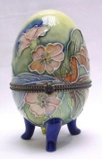 Pansy Design, standing egg shaped hinged trinket box