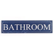 Large Wooden Hanging Message Plaque Or Sign DS 50 x 12.5cm Reads Bathroom
