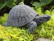 Garden ornament Turtle, Cast stone, Slate grey