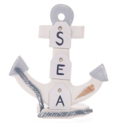 Wooden Seaside Anchor with Rope & Shells