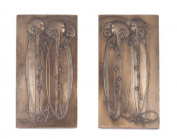 Art Nouveau Charles Mackintosh Bronze Wall Plaque Pair