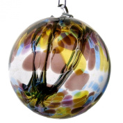 Witches or Spirit ball, 15cm, purple blue and green with glass strands inside