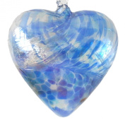 Hanging Mouth Blown Glass Heart Blue