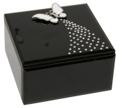 Hestia Black Glass Square Trinket Box with Metal Butterfly