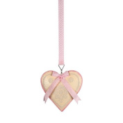 Landon Tyler 13 cm Hanging Heart Decoration on Ribbon with Pink Dots, Cream