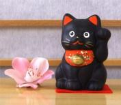 Maneki Neko Lucky Feng Shui black cat with raised paw small A1