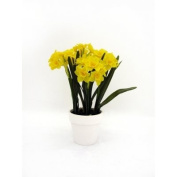Artificial Silk Potted Yellow Daffodils White Wooden Pot 30 Flowers 37cm