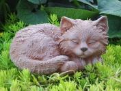 Garden ornamental Figure - Cat sleeping, Cast stone, Terracotta