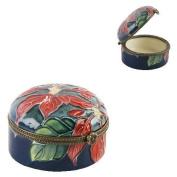 Old Tupton Ware - Poinsettia Design, 5.1cm hinged round trinket box