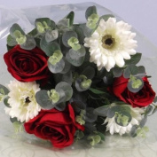 Artificial Flower Bouquets - Open Top - Cream and Red