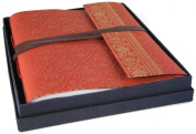 Ruby Handmade Sari Silk Photo Album with Box, Classic Style pages