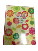 "1 x PU Covered 13 x 17cm Insert Your Own Picture Pocket Photo Album Holds 100 6 x 4"" Photographs Flowers & Circles Design"