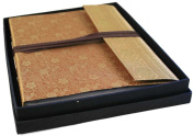 Gold Handmade Sari Silk Photo Album with Box, Classic Style pages