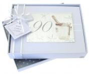 White Cotton Cards 90th Birthday Photo Album, Small, Silver Champagne