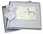 White Cotton Cards 18th Birthday Guest Book, Silver Champagne