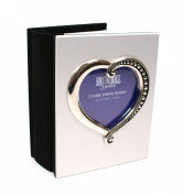 Satin Silver Heart Wedding Album - Takes 101 Photos 10cm x15cm