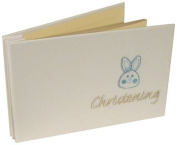 Christening 6X4 Photo Album with Blue Bunny embroidery