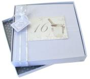 White Cotton Cards 16th Birthday Photo Album, Medium, Silver Champagne