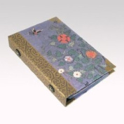 Business card album, cards ringbinder, handmade oriental gift, violet flower and butterfly