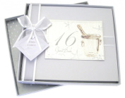 White Cotton Cards 16th Birthday Guest Book, Silver Champagne