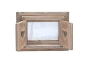 Wooden Heart Rustic Photo Frame With Shutters 15cm x 10cm