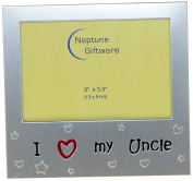 I Love My Uncle ' - Photo Picture Frame Gift - 13cm x 8.9cm - Brushed Aluminium Satin Silver Colour