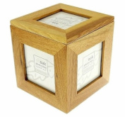 Natural Oak Wooden 5 Picture Photo Picture Cube / Keepsake Box - 5 Pictures of 7.6cm x 7.6cm