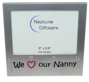 ' We Love Our Nanny ' - Photo Picture Frame Gift - 13cm x 8.9cm - Brushed Aluminium Satin Silver Colour