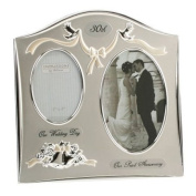 "Two Tone Silverplated Wedding Anniversary Gift Photo Frame - ""30th Pearl Anniversary"""