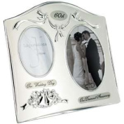 "Two Tone Silverplated Wedding Anniversary Gift Photo Frame - ""60th Diamond Anniversary"""