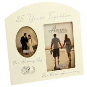 Amore Silver 25th Anniversary Wedding Gift Cream Photo Frame - 15cm x10cm