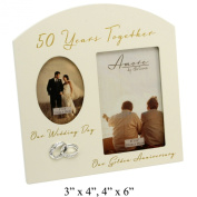 Amore Golden 50th Anniversary Wedding Gift Cream Photo Frame - 15cm x10cm
