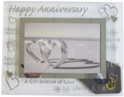 Sixtrees 3-280-64 15cm x 10cm Moments Happy Anniversary Glass and Mirror Photo Frame