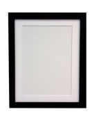 """Frames By Post 25mm wide H7 Black Picture Photo Frame with White Mount 12""""x10"""" for Pic Size 10""""x8"""""""