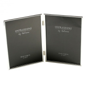 18cm x 13cm Silver Plated Double Photo Frame with Thin Edge