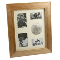 Wooden Photo Frame Collage Oak Finish Portrait 5 Pictures