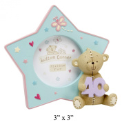 Button Corner Star Shaped Resin Photo Frame 3x3 - 40th Birthday