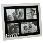 Family 4 Space Aperture Modern Mirrored & Black Photo Frame FG522FAM