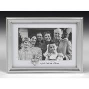Family photo Frame In Brushed Aluminium With White Border -
