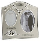 "Two Tone Silverplated Wedding Anniversary Gift Photo Frame - ""Our Anniversary"""