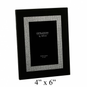 Impressions Modern Black and Silver Inner Edge Glass Photo Frame - For 10cm x15cm Pictures