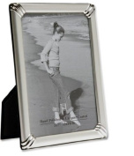 Ringed Corners Two Tone Matt/Shiny Silver Plated Photo/Picture Frame That holds a 13cm x 18cm Picture/Photo