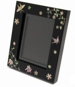 Handmade wooden mother of pearl photo frame, black butterfly.