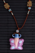 Aromatherapy Necklace - Pink Butterfly - mini Amphora and Jade thread