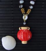 Aromatherapy Necklace - Red Lantern - mini Amphora and Jade bead thread